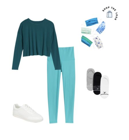 How to style leggings! There are so many ways! This is such a classic look with white sneakers and the colors are to die for! #croptop  #leggings #aqua #teal #springoutfits #whitesneakers   #LTKfit #LTKworkwear #LTKunder50