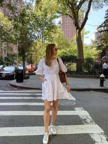 Madewell poplin white dress - wearing a size small   #LTKSeasonal #LTKunder50