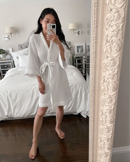 petite friendly bath  robe in lightweight 100% cotton with a waffled texture. Runs smaller and shorter than regular robes so I sized up to size XS and could potentially do a S too. it shrinks a tad in the dryer (wash on delicates cycle) and love the fit on me now. Been wearing this daily out of the shower, for getting ready in the morning and washing my face at night! Has pockets too @liketoknow.it #liketkit http://liketk.it/3hr9X #LTKunder50