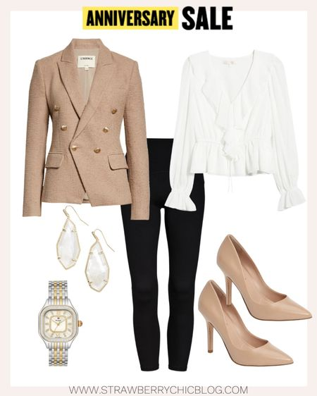 Workwear look featuring this gorgeous blazer paired with a white ruffle blouse.   #LTKworkwear #LTKsalealert