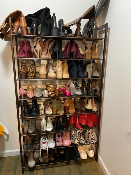 Shoe rack, shoe closet, fall boots, booties, fall and winter shoes   #LTKHoliday #LTKshoecrush #LTKSeasonal