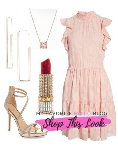 Wedding guest dresses. Wedding guest outfit with blush dress and gold heels. Pink Wedding guest dress and gold shoes. http://liketk.it/3gNFt #liketkit @liketoknow.it #weddingguest #weddingguestdress   #LTKwedding #LTKunder100 #LTKshoecrush