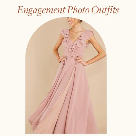 Engagement Photo Outfits Ideas—  This dusty pink sleeveless maxi dress, with ruffles detail is perfect for Spring engagement photo outfits, summer engagement photos outfits and fall engagement photos outfits with a little class and flare   Would be a great wedding guest dress option too!   http://liketk.it/38nVN #liketkit @liketoknow.it       #LTKVDay #LTKwedding #LTKstyletip