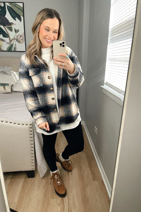 Amazon fashion finds: how to style this amazon shacket #3 This oversized sweater is a free people dupe and an amazon find, my leggings are fleece lined and these sherpa boots are 60% off right now! This would make a perfect winter outfit. http://liketk.it/36AOK #liketkit @liketoknow.it #LTKshoecrush #LTKsalealert #LTKstyletip
