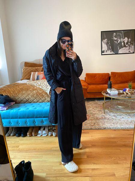 All black outfit Wide leg pant  Sweats Quilted jacket  Sherpa slippers  Beanie   #LTKunder100 #LTKsalealert #LTKGiftGuide