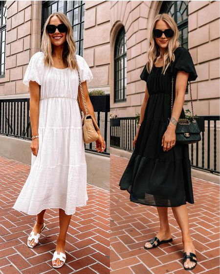 This summer dress is so good and under $100! Perfect for summer beach vacation #summerdress #whitedress #blackdress #dresses #sandals http://liketk.it/3hnsy  #liketkit @liketoknow.it #LTKunder100 #LTKstyletip #LTKunder50