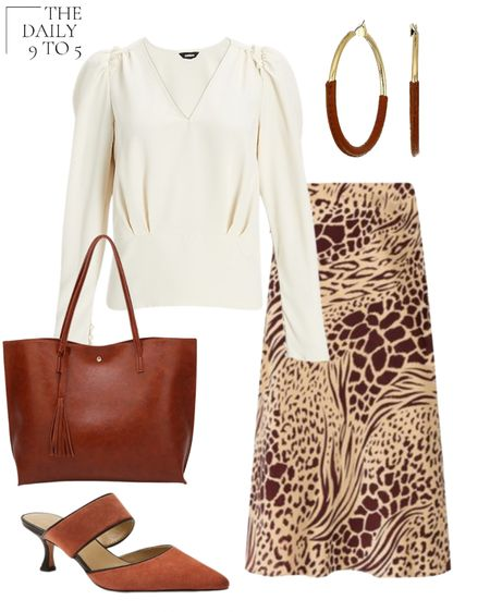 The Daily 9 To 5: August 26, 2021 This workwear look is perfect for Fall! Skirt and heels from @anntaylor and white v-neck blouse from @express Love these leather wrapped hoop earrings and classic brown tote bag to carry all your work gear back and forth  #LTKunder100 #LTKworkwear #LTKstyletip