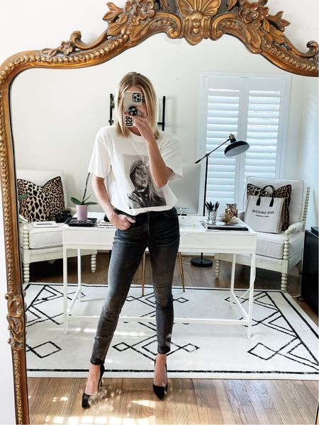 Graphic tee paired with jeans and pumps 🖤🖤🖤  #LTKunder100 #LTKstyletip #LTKSeasonal