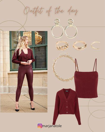 Outfit of the day! Burgundy faux leather leggings, tank top and cardigan   #LTKSale #LTKsalealert #LTKstyletip
