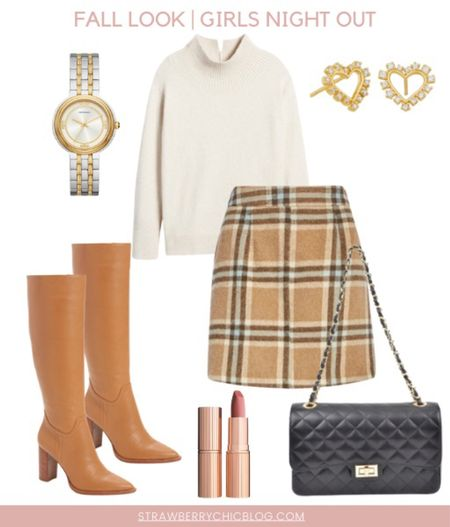 A fall girls night out isn't complete without a cute outfit! This plaid skirt paired with a white sweater and knee high boots make for the perfect night out outfit!  #LTKSeasonal #LTKstyletip