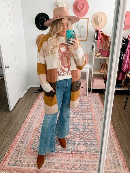 Striped cardigan, Stevie Nicks graphic tee 20% off this week, flare jeans, boho outfit, fall outfit  #LTKSeasonal #LTKunder50 #LTKsalealert