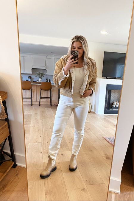 This Levi Sherpa Corduroy jacket & these cream colored straight jeans from Express are on sale! Linked my new fireplace set and chairs in the @liketoknow.it app too! . .  http://liketk.it/37OSr #liketkit #LTKhome #LTKunder50 #LTKstyletip