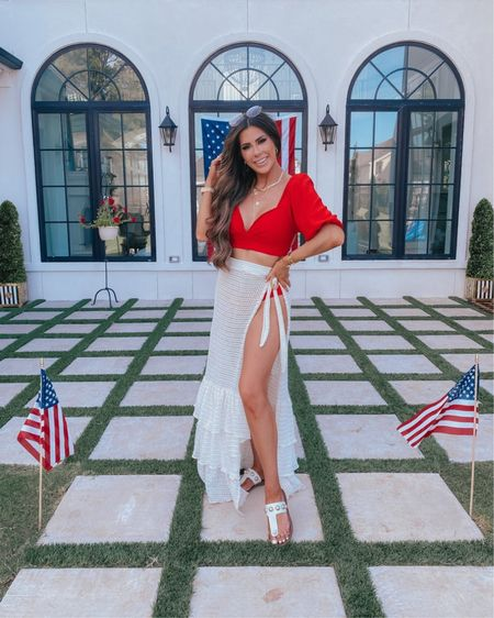 http://liketk.it/3h6r3 #liketkit @liketoknow.it 4th of July, beach vacation, bathing suites, bathing suit cover up, sunglasses, vacation outfit, bikini, Emily Ann Gemma, sandals