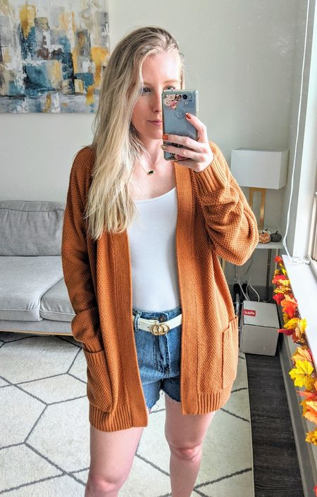 Add this Amazon cardigan to your fall wardrobe! I paired this long rust orange cardigan with a white tank and denim shorts to create this easy fall look. 🍁 Add a white belt and gold and/or black jewelry to elevate your look!    #LTKSeasonal #LTKstyletip #LTKunder50