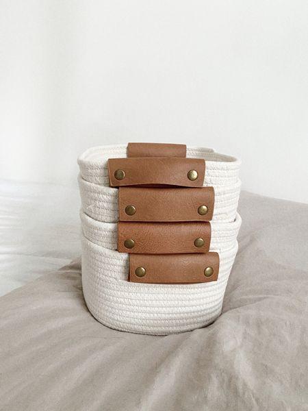 target home decor finds cream textured storage baskets with leather handle http://liketk.it/3gYTJ @liketoknow.it #liketkit #LTKDay #LTKhome #LTKunder50