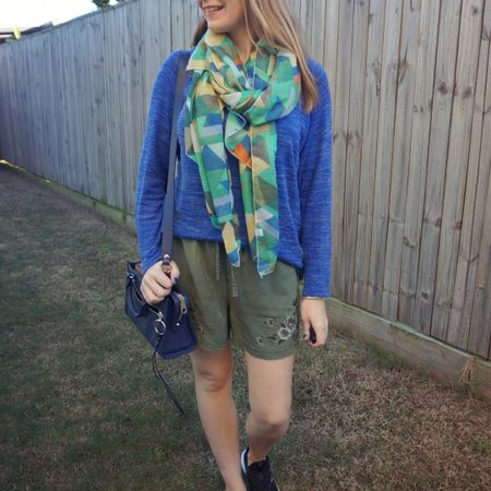 All the green with a couple blues 💙💚 Layering up shorts for late autumn work from home / school run day.  The cobalt knit works well with the olive of the shorts and I thought the different shade of green in the scarf tied it all together.  Neutral navy Rebecca Minkoff micro Bedford bag seemed like the best accessory with all that colour!  ---------------  ------------------ ----------------------------- -----   Screenshot this pic to shop the product details from the @liketoknow.it app, or click here: http://liketk.it/3gUUc #liketkit #LTKitbag #RebeccaMinkoff #fashionscarfgirl @fashionscarfgirl #realeverydaystylepic #realmumstyle #realeverydaystylepic #wearedonthestreet #everythingLooksBetterWithABag #nevervainalwayscolour
