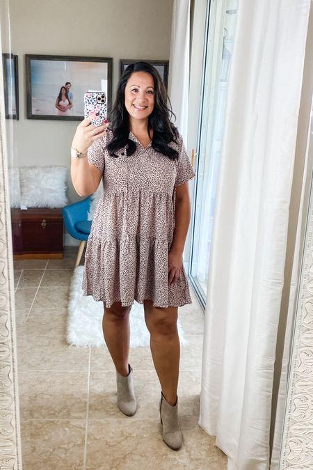Leopard print mini dress. Boho vibes. I'm wearing size L, my normal size. http://liketk.it/2U9He #liketkit @liketoknow.it