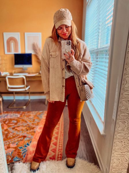 Sunday OOTD. This free people jacket is it! It's pricey, but goes with so much. I'm in a medium and it's very oversized. Color is sand. Flare pants are lululemon and sell out constantly, but I'm linking anyway. This is the color copper brown. You can do so much with these. I'm in an 8. Boots are waterproof, fit TTS, and I'm in the color sesame. Hat also linked.   #LTKunder100 #LTKstyletip #LTKshoecrush