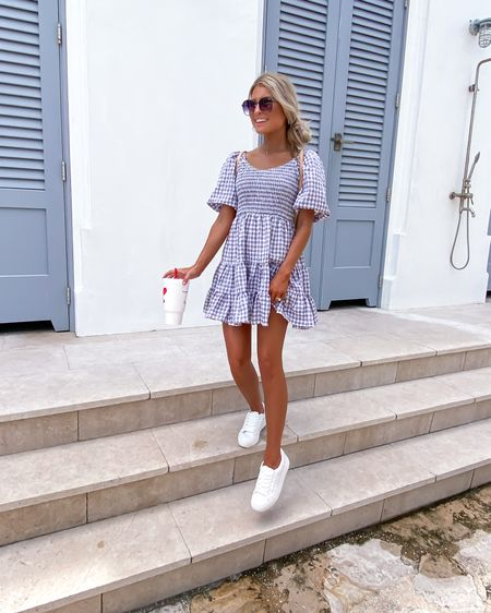 dresses + sneaks are my fav outfit 🙌🏼 cute up top, comfy on the bottom! outfit is from @hazelandolive! 🖤 http://liketk.it/3ilfx @liketoknow.it #liketkit #LTKstyletip #LTKshoecrush