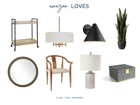 Check out some of our favorite Amazon home decor finds!  Bar cart, chandelier, outdoor light, faux plant, mirror, dining chair, table lamp, jewelry box, home decor  #LTKhome
