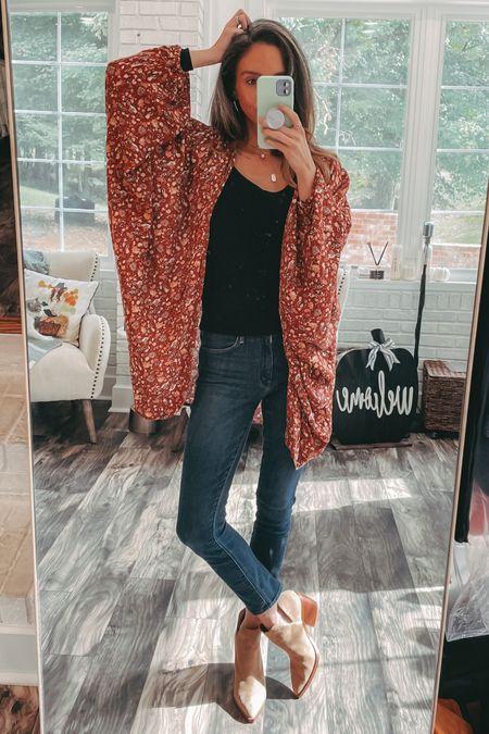 Fall outfit inspo kimono    #LTKunder50 #LTKfit #LTKunder100