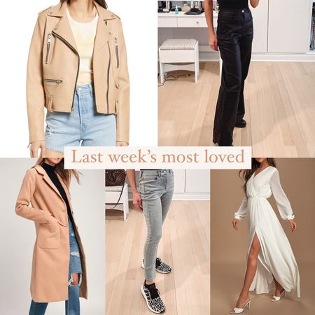 Last week's most loved in clothing: - tan faux leather jacket - faux leather flare leg jeans - tan wool coat - gray knit high waisted jeans - a flowy white maxi dress Most under $50, all under $100!   #LTKwedding #LTKSeasonal #LTKunder100
