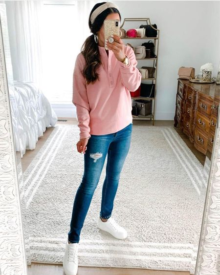 1, 2, 3, 4, 5, 6, 7 or 8 - which under $40 @walmart looks do you like best!?! This pink Henley sweatshirt is just $15 and all sizes are in stock! This colorblock cardigan is under $18 and this belted denim jacket is on sale for $22! We also linked these comfy $35 sneakers. Head to our IG stories for a closer look at all these cute + comfy affordable outfits! 🛍 P.S. shop it all via the LTK app or our link in bio 🥰