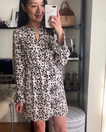 """This lepard print dress and select full-price items are 60% off at LOFT! I am trying on XXS regular and I'm 5' 2.5"""". This dress also has siblings (one top is not yet on sale) which I've linked to along with a few sales picks @liketoknow.it http://liketk.it/2EmPU #LTKsalealert #liketkit  #LTKunder50 #LTKunder100 #loveloft fitting room try-on"""