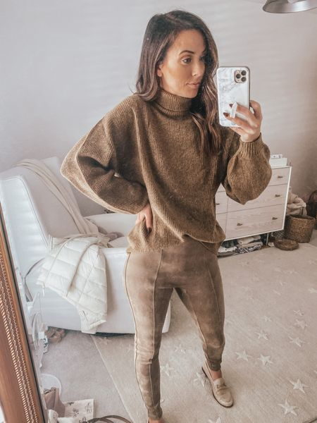 Spanx faux suede leggings, fall outfit, fall style, brown sweater, turtleneck sweater    #LTKunder100