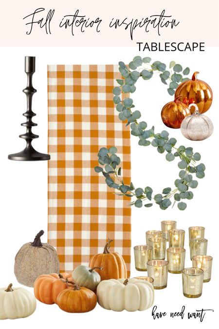 Fall tablescape idea for this fall and thanksgiving. Love the orange Buffalo check table runner and the black candlesticks as well as the faux eucalyptus wreath and Mercury glass accents.   #LTKunder50 #LTKSeasonal #LTKhome