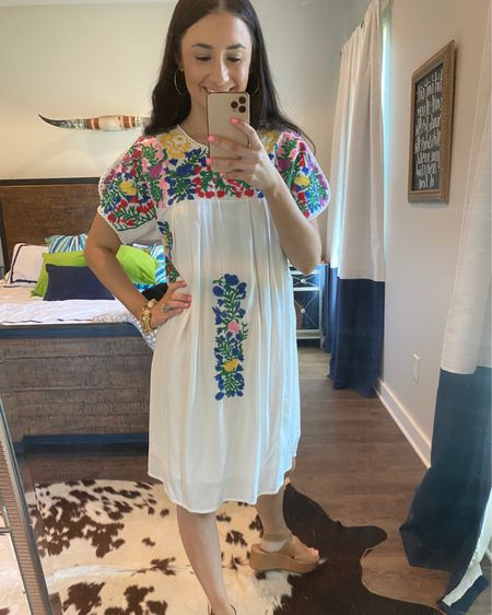 Shop your screenshot of this pic with the LIKEtoKNOW.it shopping app http://liketk.it/3dldN @liketoknow.it #liketkit #LTKshoecrush buddy love, embroidered dress, cinco de Mayo outfit, white dress