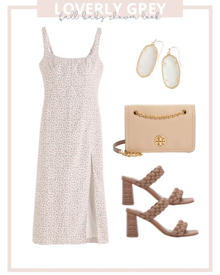 Loverly grey fall baby shower look: pair a midi floral dress with heels and a blush bag!   #LTKunder100 #LTKstyletip #LTKbaby