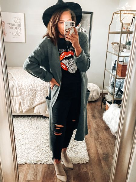 Fall outfit, Express duster cardigan, graphic tee outfit, target style, boots, target boots, black distressed jeans, hat, fall, sale, fashion over 40  #LTKsalealert #LTKunder50 #LTKstyletip