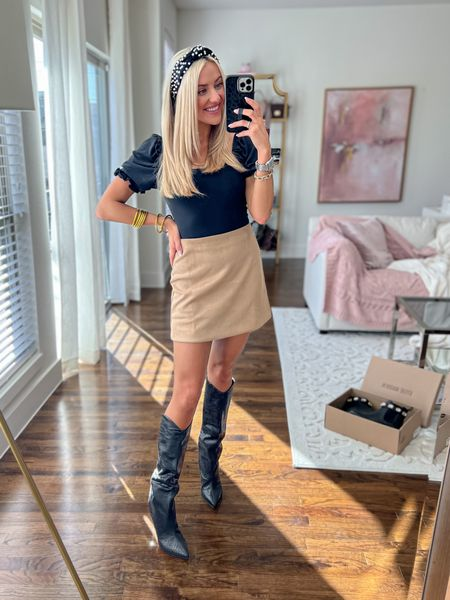 Pink Lily Outfit  Fall Look  Heeled boots  Bodysuit- size small  Suede skirt- size small     *15% off JANELLE15  Schutz Boots      * true to size  Pearl headband Amazon    #LTKunder50 #LTKstyletip #LTKunder100