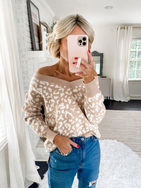 Loving this printed soft fall sweater!