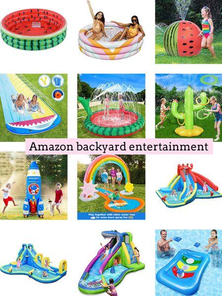 Amazon backyard entertainment. Amazon finds. Kids activities. Family fun. Summer fun. Backyard games. Pool. Water slide. Sprinkler  .  http://liketk.it/3ijvY   #liketkit @liketoknow.it #LTKfamily #LTKkids #LTKhome