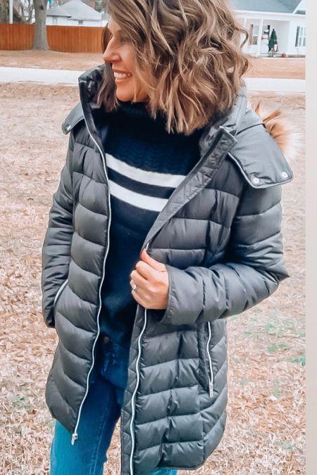 Longline puffer jacket from Amazon. I sized up for more room with sweaters. Puffer jacket, coats, winter coats, fall  #LTKsalealert #LTKunder50 #LTKSeasonal