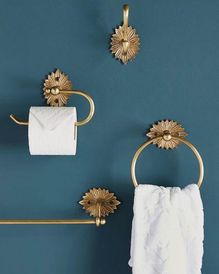 Powder room Powder bath Towel ring Towel bar Bathroom hardware Gold hardware Anthro home Anthropology  Home decor Gold home decor Home accents   http://liketk.it/36boy #liketkit @liketoknow.it #LTKhome #StayHomeWithLTK #LTKunder100