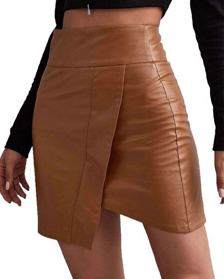 #fall #fall2021 #trending #skirts  #faux #fauxleather #trends #tan        #LTKunder50 #LTKSeasonal #LTKGiftGuide