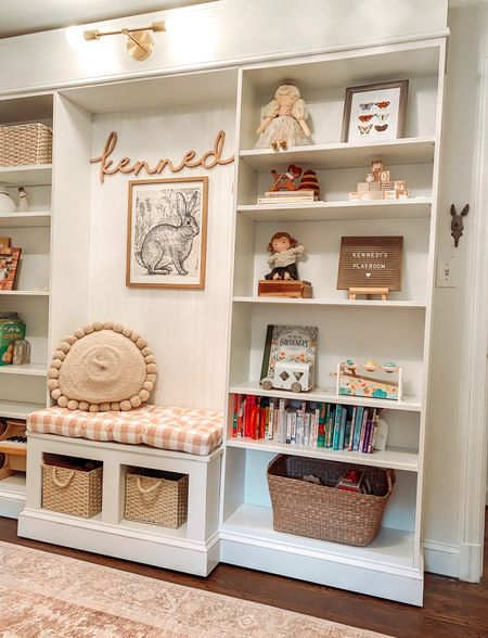 DIY Built-In with Reading Nook using IKEA Billy Bookcase - How To on Blog   https://alexa-at-home.com/ikea-billy-bookcase-built-in-hack/  Bookcase styling, ikea hack, ikea furniture hack, kids rooms, kids playroom, reading nook, playroom organization    #LTKkids #LTKhome #LTKfamily