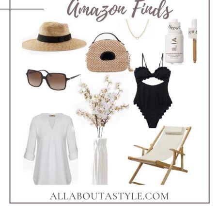 Amazon Summer Finds. #summer #swimsuit #besch #vacation #beachchair #beachcoverup #sandals #purse #beachhat @liketoknow.it #liketkit (enableimagetoviewlink) #LTKDay #LTKswim #LTKitbag