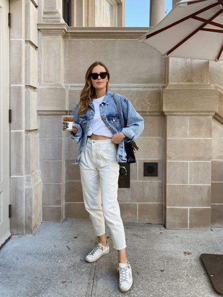 Casual white Abercrombie jeans outfit (tts), anine bing oversized denim jacket (wearing a small), golden goose sneakers and white t shirt   #LTKunder100 #LTKstyletip #LTKSeasonal