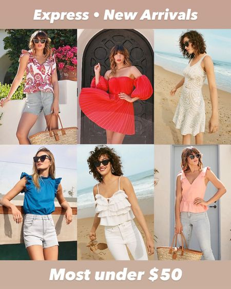 New arrivals from express featuring a bunch of pretty tanks and blouses, and a gorgeous trapeze dress. These would be perfect for any summer occasion including beach visits, vacation luxe, brunch with the girls, or date night! All of these will be on sale as part of LTK day this weekend. Most under $50!   #LTKunder50 #LTKDay #LTKSeasonal