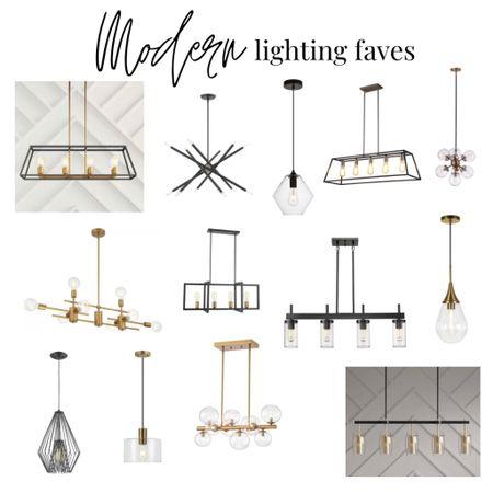 Modern pendant lighting and chandeliers. Black lighting. Gold lighting. Kitchen and dining room lighting. Entryway lighting   #LTKsalealert #LTKstyletip #LTKhome
