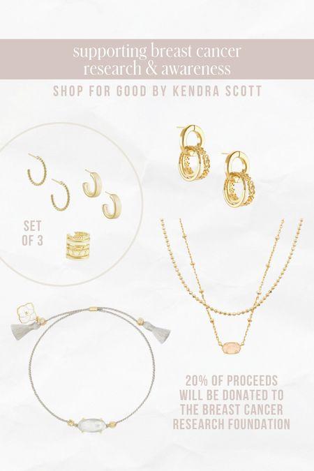 Kendra Scott picks benefiting Breast Cancer Awareness research 🤍  — Layered necklaces — Gold hoops — Huggies — Dainty bracelet   #LTKstyletip #LTKunder100