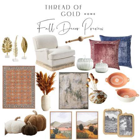 Since everyone seems to be putting out fall decor already I figured I would share some of my favorite items so far! I really love jewel tones like the blue and plum colored pillows for an untraditional fall color palette!  Do you think it's too soon for fall decor or does it make you excited?! I'm in the excited camp! 🙌🏻    #LTKhome #LTKunder100 #LTKunder50