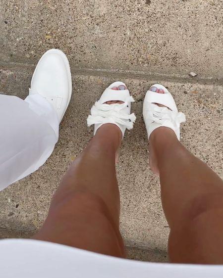 http://liketk.it/3fHtM @liketoknow.it #liketkit #LTKwedding #LTKworkwear #LTKshoecrush  white slide sandal heels, white dress