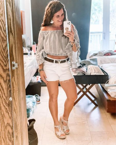 I'm OBSESSED with this Tamsin top from Altar'd State! I'm also loving these white shorts from Evereve, bracelets from Nordstrom and espadrille wedges from Macy's! This is the perfect outfit for a very warm spring day🌸🌸 You can instantly shop my looks by following me on the LIKEtoKNOW.it shopping app http://liketk.it/3aLYL #liketkit @liketoknow.it #StayHomeWithLTK #LTKstyletip #LTKshoecrush