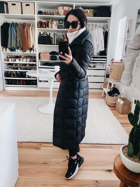 I found my Bernardo maxi coat on sale. All sizes in-stock. I'm wearing the xs. A great winter coat    Coat - Bernardo xs Sweater - Madewell xxs (old) Leggings - Zella xs Sneakers - Nike 6 Sunglasses - Quay  #LTKSeasonal #LTKsalealert