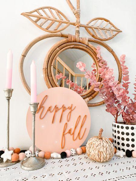 Fall, fall decor, home, pumpkin mirror, sign, faux stems, amazon, target home, felt garland   #LTKSeasonal #LTKunder50 #LTKhome